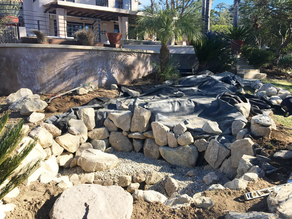 Installation process california waterscapes water features for Waterfall installation