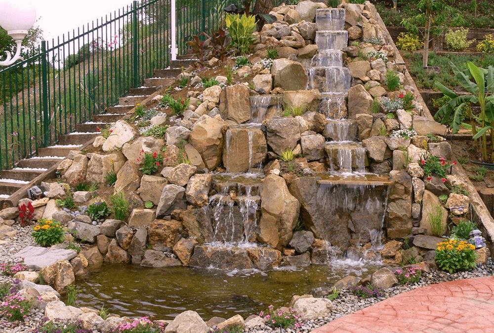 So Cal Hillside Waterfalls and Koi Pond