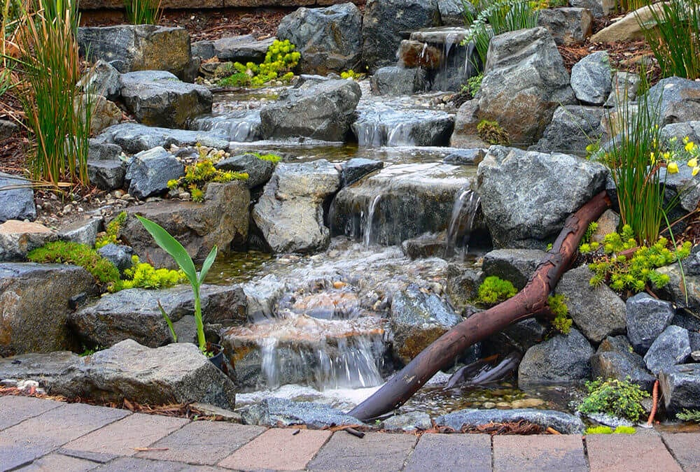 Natural Rock Pondless Stream and Patio